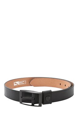 Puma Ferrari LS Black Solid Leather Narrow Belt