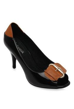 12d84f6a343 Catwalk Black   Tan Peeptoe Stilettos