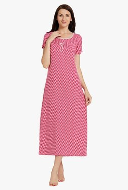 Blush By PrettySecrets Pink Heart Print Polyester Nightdress