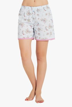 Blush By PrettySecrets Blue Floral Print Cotton Shorts