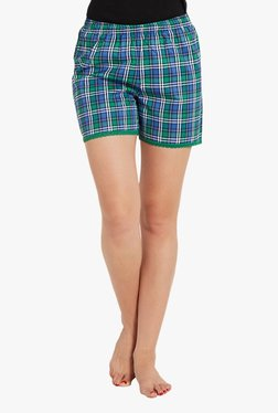 Blush By PrettySecrets Blue & Green Checks Shorts