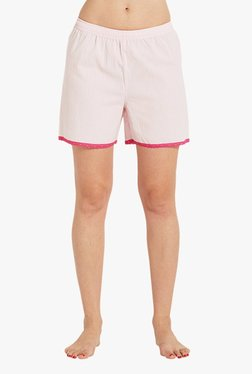 Blush By PrettySecrets Pink Striped Cotton Shorts