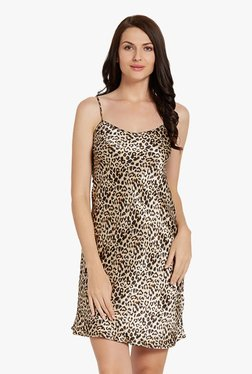 Blush By PrettySecrets Brown & Beige Animal Print Chemise