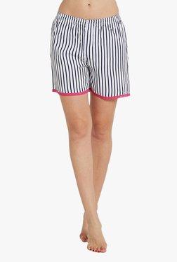 Blush By PrettySecrets White & Navy Striped Cotton Shorts