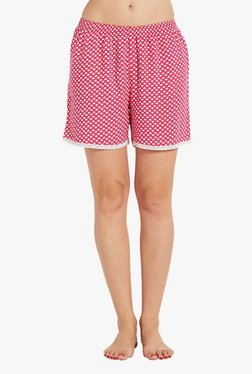 Blush By PrettySecrets Pink Heart Print Cotton Shorts
