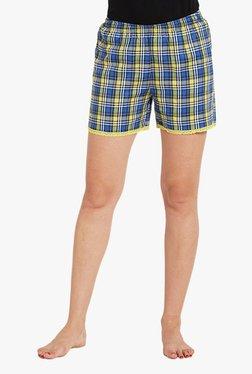 Blush By PrettySecrets Blue & Yellow Checks Cotton Shorts