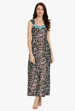 Blush By PrettySecrets Brown Printed Polyester Nightdress