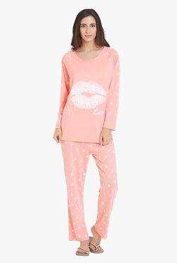 Blush By PrettySecrets Peach Printed Pyjama Set