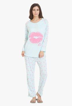 Blush By PrettySecrets Blue Printed Pyjama Set