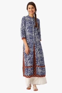 Jaipur Kurti Blue Printed Cotton Straight Kurta