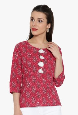 Desi Fusion Pink Printed Cotton Top