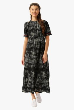 Jaipur Kurti Black Printed Cotton Maxi Dress