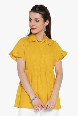 Desi Fusion Yellow Textured Cotton Top