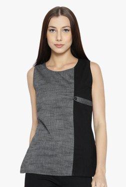 Desi Fusion Grey & Black Textured Cotton Top