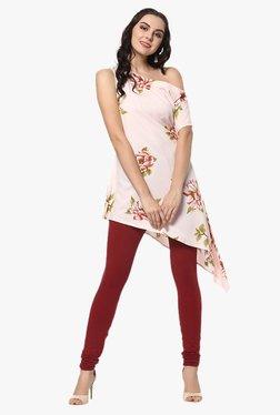 Ziyaa Light Pink Floral Print Crepe A-Line Asymmetric Kurti