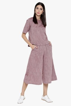 Desi Fusion Pink Textured Cotton Top With Culottes