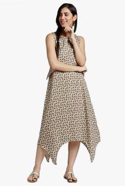 Desi Fusion Cream Geometric Print Cotton Dress