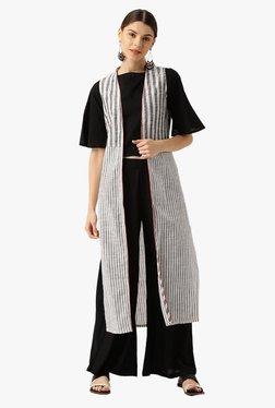 Desi Fusion Black & White Cotton Top With Jacket & Palazzo