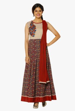 Soch Maroon & Beige Printed Cotton Anarkali Suit Set