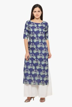 Ahalyaa Navy Printed Cotton Straight Kurta