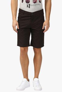 Parx Brown Cotton Mid Rise Shorts