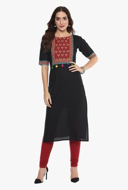 Ahalyaa Black Printed Cotton Pom Pom Lace Kutch Style Kurta