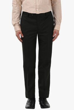 Park Avenue Jet Black Super Slim Fit Flat Front Trousers