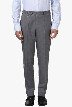 Park Avenue Light Grey Slim Fit Mid Rise Trousers