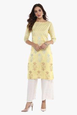 Ahalyaa Yellow Printed Poly Silk Kurta