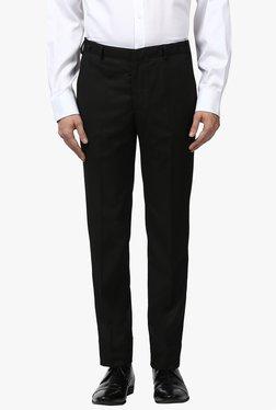 Park Avenue Black Flat Front Trousers