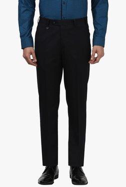 Park Avenue Jet Black Flat Front Trousers