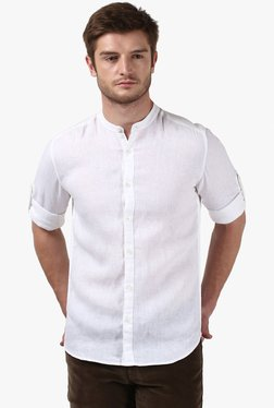 Parx White Band Collar Slim Fit Shirt