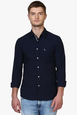 Parx Navy Solid Full Sleeves Slim Fit Shirt