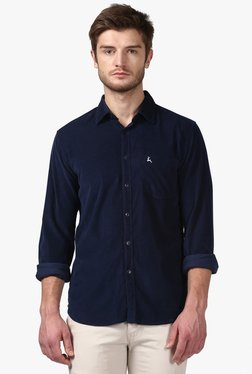Parx Navy Solid Slim Fit Shirt