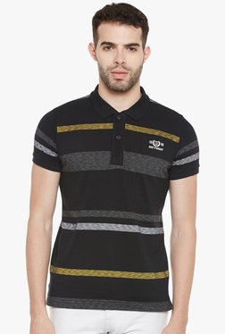 Duke Black Half Sleeves Striped Polo T-Shirt