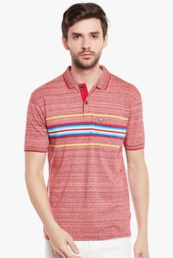 Duke Coral Half Sleeves Striped Polo T-Shirt