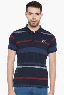 Duke Navy Half Sleeves Striped Polo T-Shirt