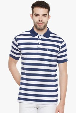 Duke Navy & White Half Sleeves Striped Polo T-Shirt
