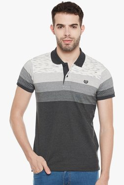 Duke Dark Grey Half Sleeves Striped Polo T-Shirt
