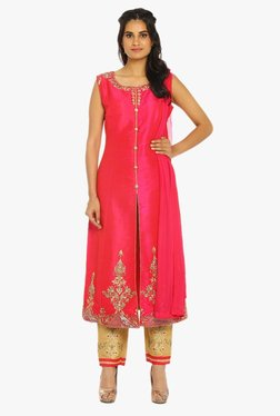 Soch Pink & Gold Embroidered Raw Silk Suit Set