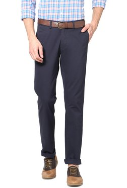 Allen Solly Navy Slim Fit Mid Rise Chinos