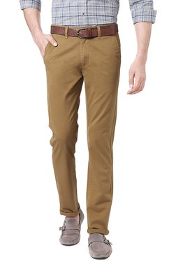 Peter England Khaki Skinny Fit Cotton Chinos