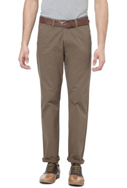 Peter England Taupe Slim Fit Cotton Chinos