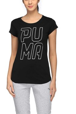 Puma Black Logo Print Swagger Font T-Shirt