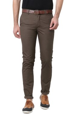 Peter England Brown Slim Fit Cotton Chinos