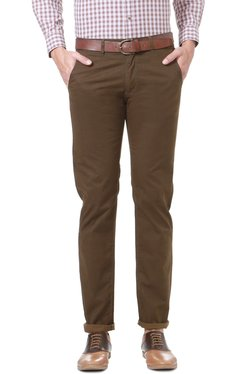 Peter England Brown Skinny Fit Cotton Chinos