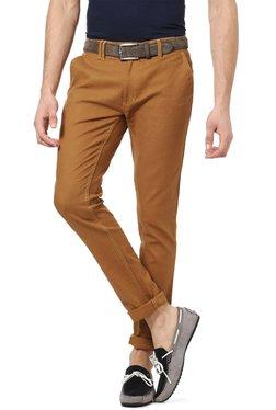 People Brown Regular Fit Cotton Chinos