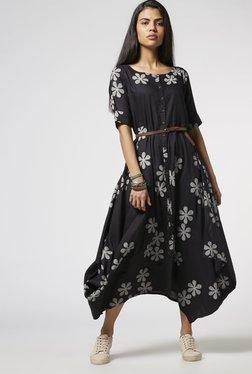 Bombay Paisley By Westside Black Dress With Belt