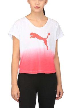 Puma White & Coral Logo Print Summer Crop Top