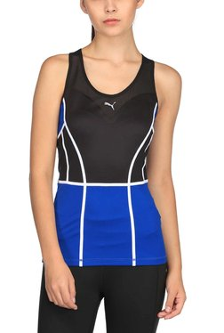 Puma Black & Blue U Neck Powershap Tank Top